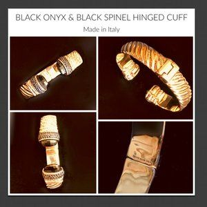 ROSE BRONZE, ONYX AND BLACK SPINEL HINGED CUFF